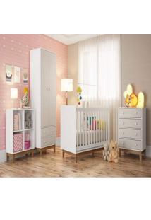 Quarto De Bebê Completo Com Guarda Roupa 2 Portas Berço Cômoda 4 Gavetas E Estante Baixa Retrô Siena Móveis Branco/Nude