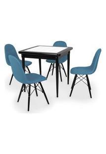 Conjunto Mesa De Jantar Em Madeira Preto Prime Com Azulejo + 4 Cadeiras Botonê - Turquesa