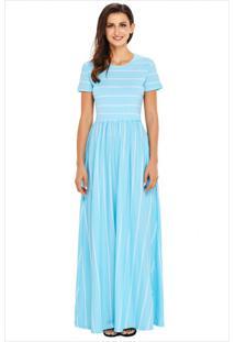 Vestido Longo Listrado Com Bolso Manga Curta - Azul Claro
