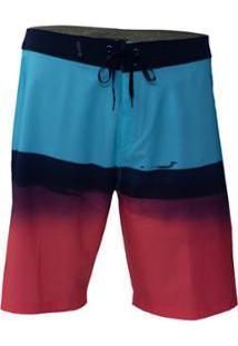 Bermuda Água Hurley Phantom Pure Glass Masculina - Masculino-Azul+Vermelho