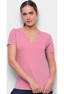 Blusa Calvin Klein Slim Logo Gola V Feminina - Feminino-Rosa
