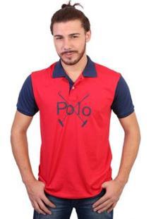 Camisa Polo England Polo Club Estampada - Masculino-Vermelho
