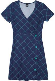 Vestido Azul Escuro Transpassado