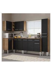 Cozinha Completa De Canto Madesa Emilly Water Com Armário, Balcão E Paneleiro Rustic/Preto Cor:Rustic/Preto