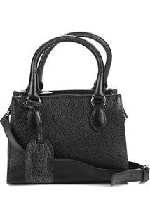 Bolsa Couro Shoestock Satchel Transversal Feminina - Feminino-Preto