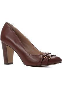 Scarpin Couro Shoestock Salto Alto Bico Redondo Tiras - Feminino-Tabaco