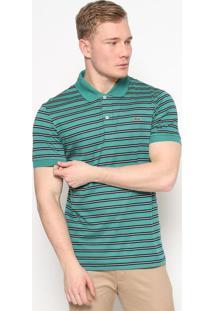 Polo Regular Fit Listrada- Verde Claro & Verde- Lacolacoste