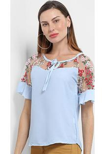 Blusa Mi Tule Bordada Amarração Feminina - Feminino-Azul