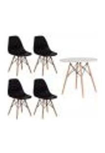 Conjunto Kit 4 Cadeiras Eiffel Eames Preta + 1 Mesa Eames 80Cm Branca Base Madeira Sala Cozinha