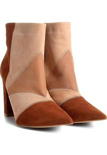 Bota Couro Cano Curto Shoestock Patchwork Feminina - Feminino-Nude