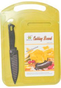 Conjunto De 2 Tábuas E Faca Com Proteção Amarela