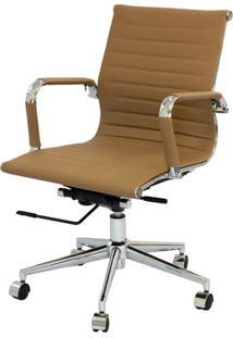 Cadeira Eames Baixa Caramelo Base Cromada