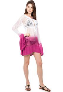 Tricô Saida De Praia Pink Tricot Manga Flare Estampa Tie Dye Branco/Rosa - Tricae