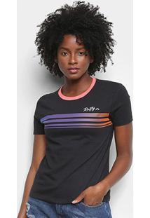 Camiseta Rusty Rainbow Feminina - Feminino-Preto+Rosa