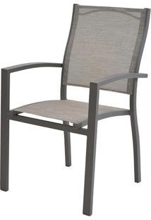 Cadeira Popis Com Bracos Tela Bege Base Marrom - 38690 - Sun House