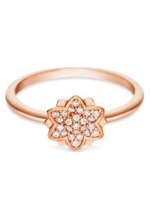 Anel Life Flor Lótus Com Banho Ouro Rosé