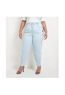 Calça Baggy Jeans Com Bordado Lateral Curve & Plus Size
