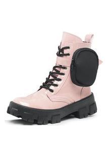Bota Coturno Plataforma Tratorada Batta Shoes Com Bolsinha Removivel Rosê