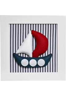 Quadro Decorativo Barco Quarto Náutico Bebê Infantil Potinho De Mel Marinho