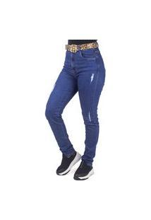 Calça Jeans Slim Cinto Animal Print Onça Sal E Pimenta
