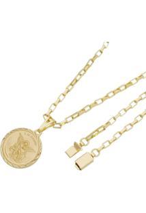 Pingente São Miguel Arcanjo Com Corrente Modelo Francesa Tudo Joias Fecho Gaveta Folheado A Ouro 18K Dourado