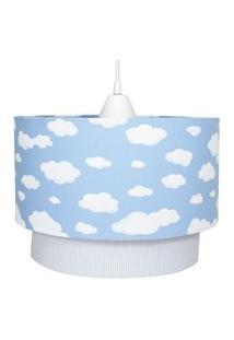 Lustre Tubular Duplo Nuvem Azul Quarto Bebê Infantil Menino Potinho De Mel