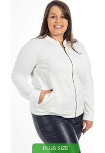 Jaqueta Plus Size Com Zíper Bege