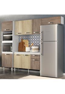 Cozinha Modulada 4 Módulos Composição 2 Branco/Carvalho/Castanho - Lumil Móveis