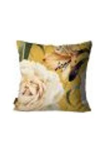 Capa Para Almofada Premium Cetim Mdecore Floral Amarela 45X45Cm