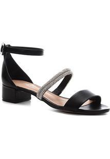 Sandália Couro Shoestock Noiva Tira Malha Strass Feminina - Feminino-Preto