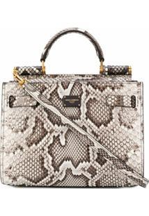 Dolce & Gabbana Bolsa De Mão Com Estampa De Cobra - Marrom