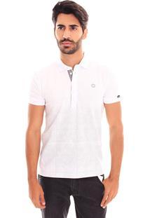 Camiseta Polo Convicto Estampa Degrade Branco