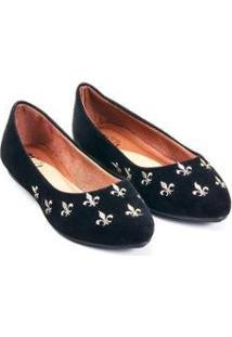 Sapatilha Camurça Mizzi Shoes Bordado Flor De Lis Feminina - Feminino-Preto