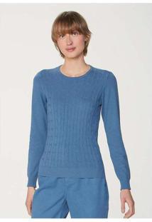 Blusão Feminino Básico Em Tricô Com Textura Azul