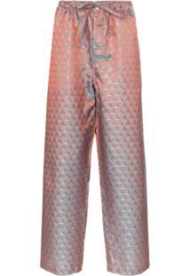 Comme Des Garçons Homme Plus Calça Em Jacquard Geométrico Com Cordão - Multicoloured