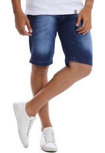 Bermuda Jeans Bamborra Slim Com Lycra Azul