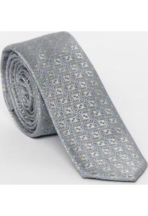 Gravata Em Seda Arabescos - Cinza & Azul - 7X148Cm