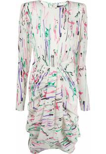 Isabel Marant Vestido Midi Drapeado Com Estampa Abstrata - Neutro