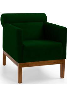 Poltrona Decorativa Fixa Base De Madeira Yumi Veludo Verde - Gran Belo