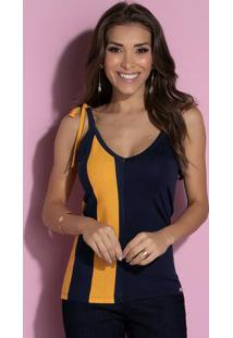 Blusa Com Alça Para Amarrar Listrada Azul