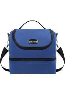 Bolsa Térmica- Azul Escuro & Preta- 21X23X15Cm- Jacki Design