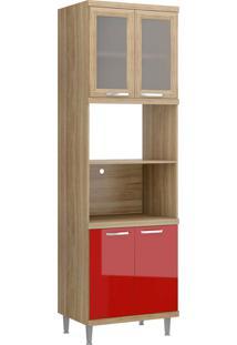 Módulo Para Forno E Micro-Ondas 4 Pts Sicília Vidro Argila E Vermelho-Scarlet Multimóveis