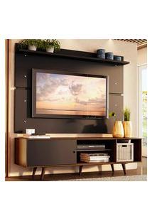 Rack Madesa Dubai E Painel Para Tv Até 65 Polegadas Com Pés - Rustic/Preto 7Kd8 Preto
