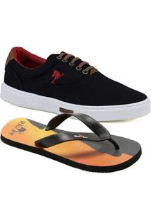 Kit 1 Tênis Casual, 1 Chinelo Polo Joy Masculino - Masculino-Preto