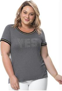 Blusa Cinza Claro Yes Com Strass