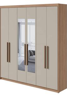 Guarda Roupa Libra 6 Portas Com Espelho Carvalho Naturale/Off White