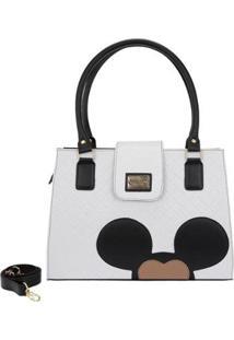 Bolsa Gouveia Costa Mickey Mouse Alça Transversal Feminina - Feminino-Branco
