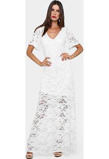 6a6532b7ef ... Vestido Gup S Jeans Longo Rendado Vazado - Feminino-Off White