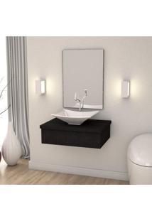 Conjunto Para Banheiro Gabinete Com Cuba Folha L38 E Espelheira 601W Metrópole Compace Preto Onix