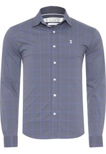 Camisa Masculina Quadriculada - Cinza